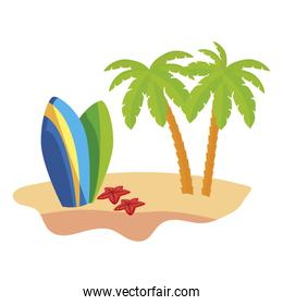 summer beach scene with tree palms and surfboards