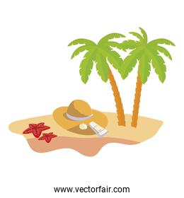 summer beach scene with tree palms and straw hat