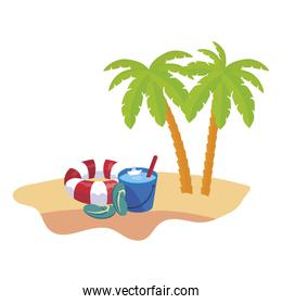 summer beach scene with tree palms and float