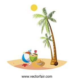 summer beach with palms and sand bucket scene