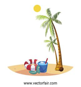 summer beach with palms and float scene