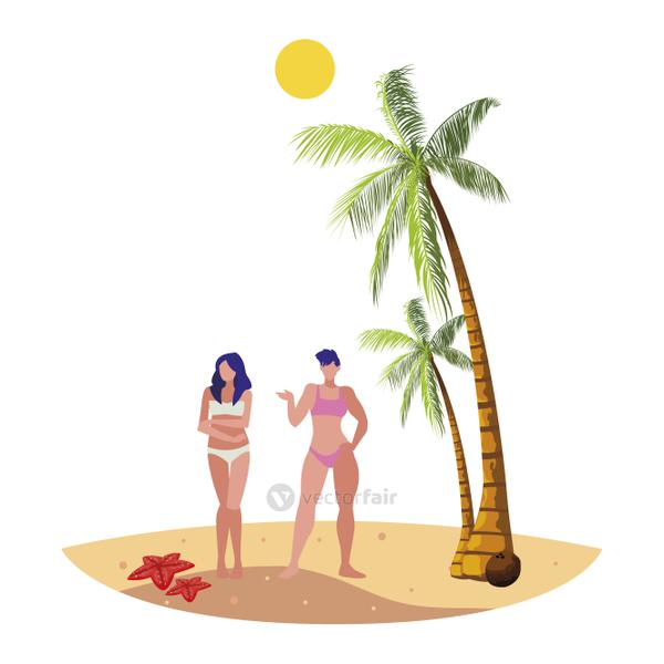 young girls couple on the beach summer scene