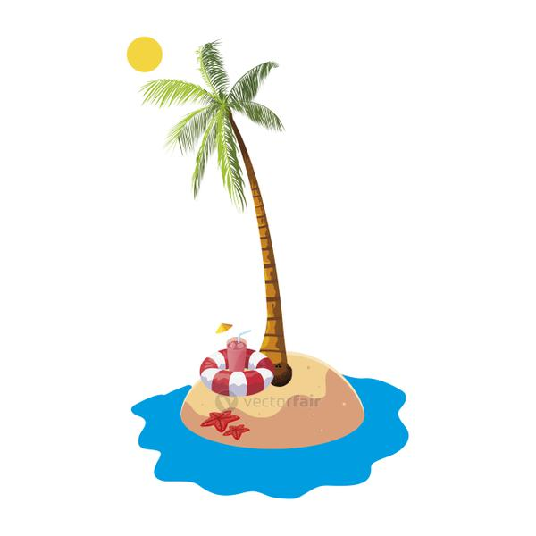 summer beach with palms and float lifeguard scene