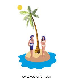 young couple on the beach summer scene