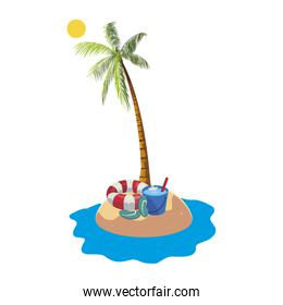summer beach with palm and lifeguard float scene