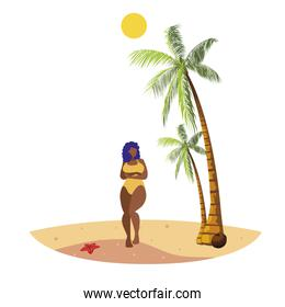 young afro woman on the beach summer scene
