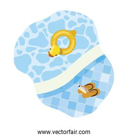 edge of pool with duck float and sandals scene
