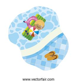 edge of pool with mattress float and sandals scene
