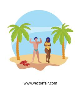 young interracial couple on the beach summer scene