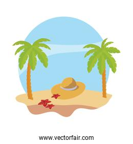 summer beach with palms and straw hat scene