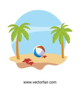 summer beach with palms and balloon toy scene