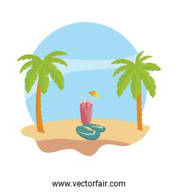 summer beach with palms and juice fruit cocktail scene