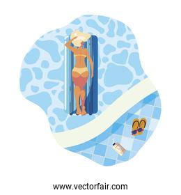 woman tanning in float mattress floating in pool