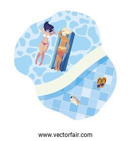 beautiful girls with float mattress floating in water