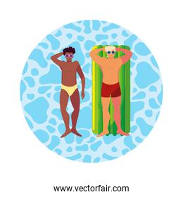 interracial men with swimsuit and float mattress in water