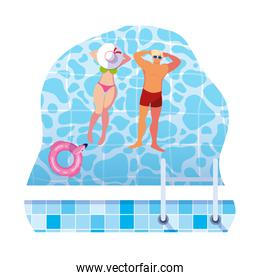 young couple with swimsuit floating in water