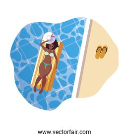 afro woman with float mattress floating in water