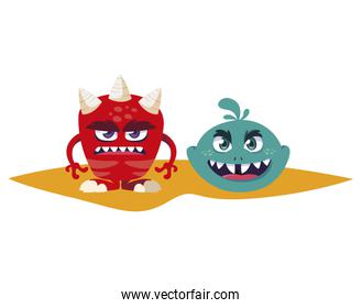 funny monsters comic characters colorful
