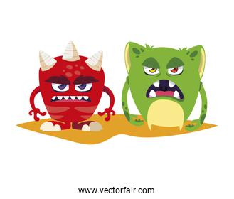 funny monsters couple comic characters colorful