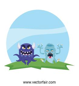 funny monsters couple in the field characters colorful