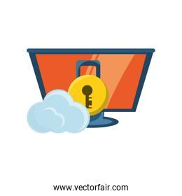 computer with padlock and cloud icon