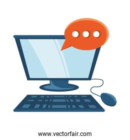 computer with speech bubble icon