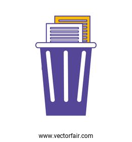 trash and document pages icon