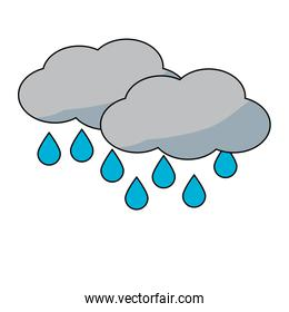 clouds and water drops icon