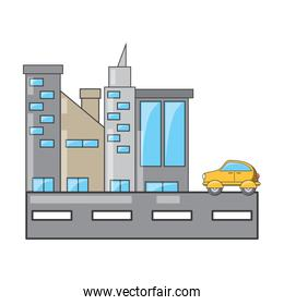 city buildings and one taxi