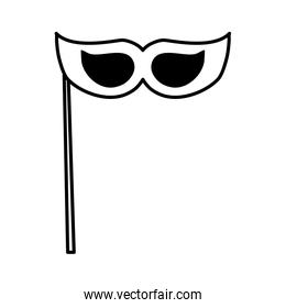 masquerade mask Party prop icon over white background