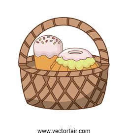 Basket with cakes icon