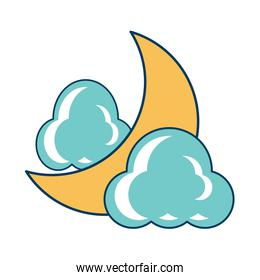 Clouds and moon icon