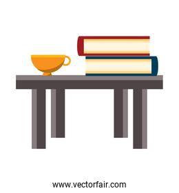 table with books design