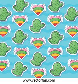 cactus and hearts pattern background