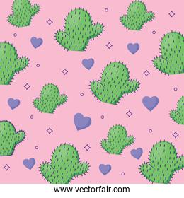 cactus and hearts pattern