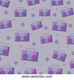 Boombox stereo and stars pattern
