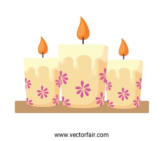 Candles with floral design