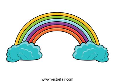rainbow and clouds design