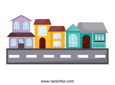 Traditional houses design on the street