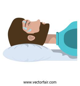man lying with fever