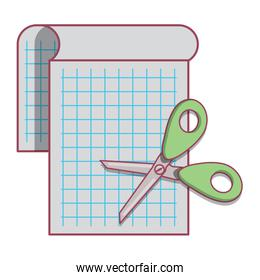 notepad and scissors
