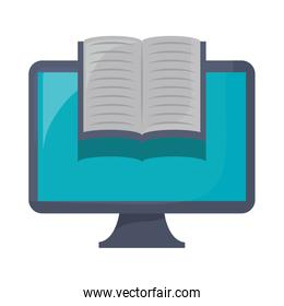 computer with book icon