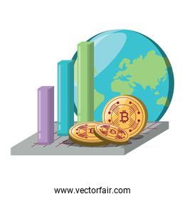 bar chart and cryptocurrency design