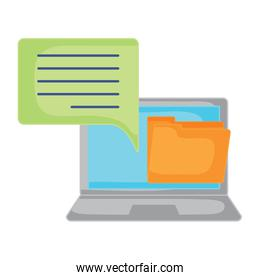 laptop computer and folder isolated icon