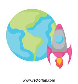 earth planet and rocket