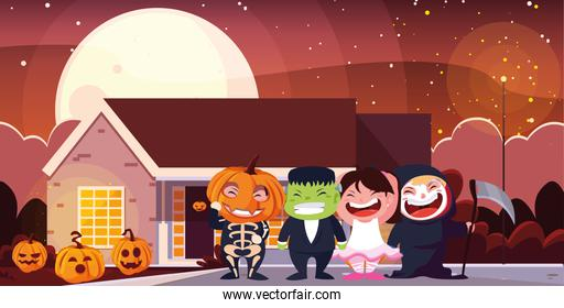 Halloween costumed children vector design