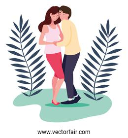 Isolated pregnant woman and man with leaves design