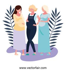 Isolated pregnant women with leaves vector design