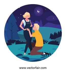 Isolated pregnant woman and man vector design