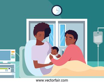 Mother and father with baby vector design